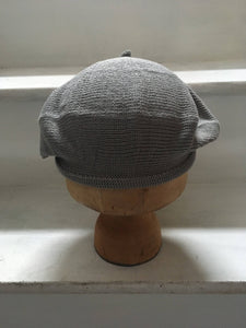 Grey Cotton Knitted French Style Beret
