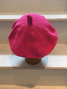 Fuchsia Pink Cotton Knitted French Style Beret