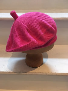 Bright Pink Cotton Knitted Beret by Lord and Taft