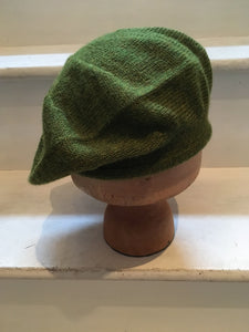 Grass Green Knitted Alpaca Scottish Tam Style Beret, by Lord and Taft.