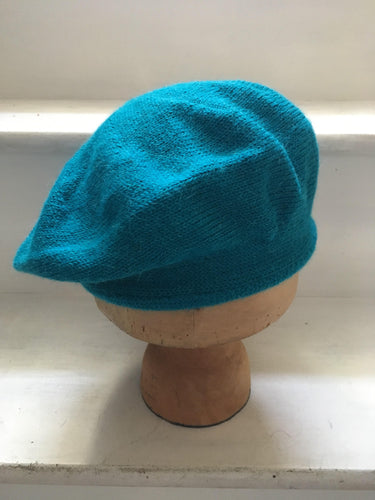 Lord and Taft Turquoise Blue Alpaca Knitted Tam Style Beret