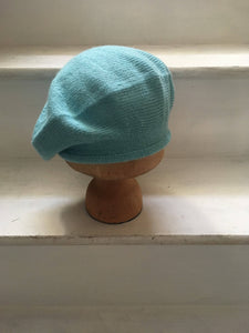 Light Aqua Alpaca Knitted Tam Style Beret with Rolled Hem, by Lord and Taft
