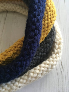 Navy, Mustard, Cream and Grey 4-Loop Handknitted Neckwarmer in Alpaca and Wool, by Lord and Taft