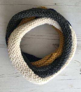 Mustard, Cream, Blue and Grey Handknitted Looped Neckwarmer