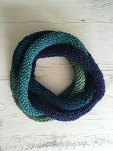 Load image into Gallery viewer, Blue Green Handknitted Looped Neckwarmer