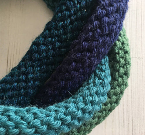 Green and Blue 4 Loop Knitted Alpaca Neckwarmer by Lord and Taft