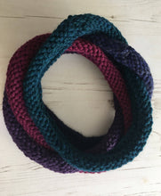 Load image into Gallery viewer, Purple Blue Handknitted Looped Neckwarmer