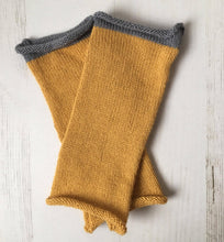 Load image into Gallery viewer, Mustard Yellow Fingerless Alpaca Gloves with Grey Trim