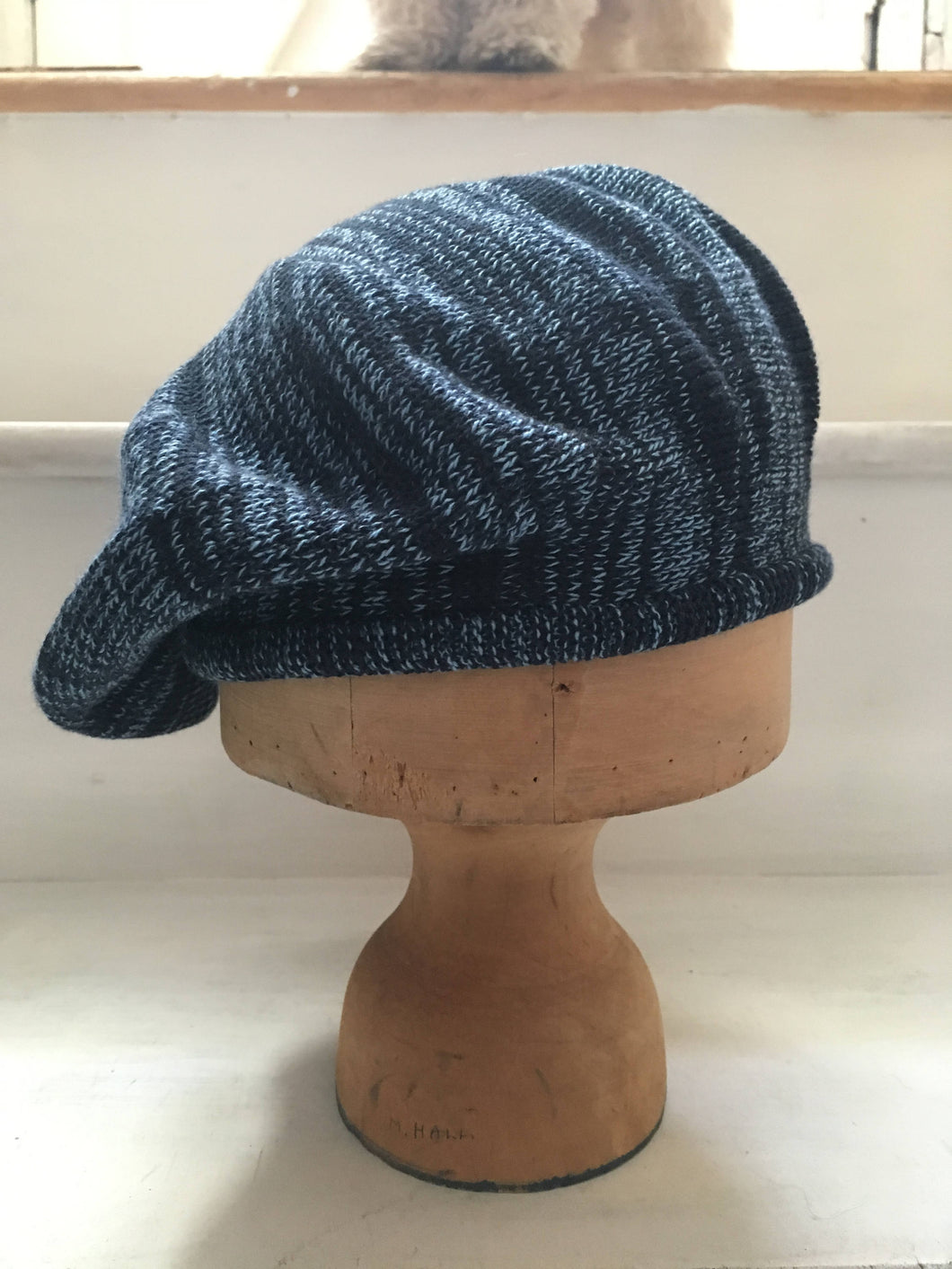 Lord and Taft Denim and Navy Blue Marled Effect Knit Cotton Tam Style Beret