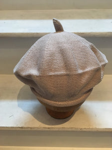 front view of Lord and Taft beige cotton knitted beret