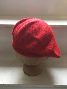 Red Alpaca Knitted Tam Style Beret