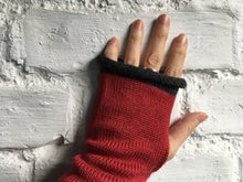 Load image into Gallery viewer, Crimson Red Alpaca Silk Fingerless Gloves with Grey Trim