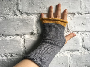 Grey Alpaca and Silk Fingerless Gloves with Mustard Trim