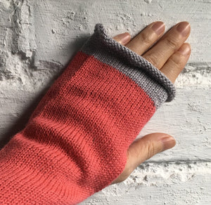 Pink Fingerless Alpaca Knitted Gloves, with Grey Trim. By Lord and Taft