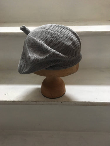 Grey Cotton Knitted Beret with Top Tab and Rolled Hem, by Lord and Taft