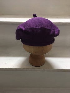 Violet Cotton Knit French Style Beret with Tab at Top