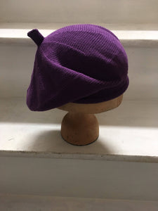 Purple Cotton Knitted French Beret by Lord and Taft