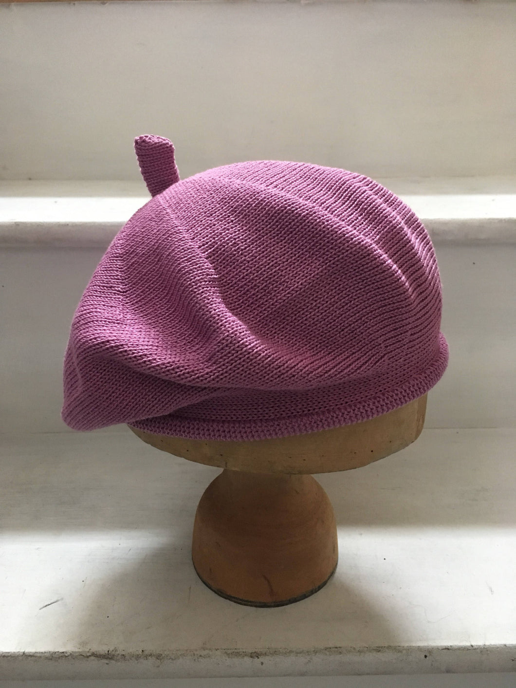 Pink Lilac Knitted Cotton French Style Beret by Lord and Taft