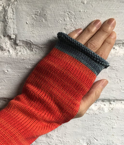 Scarlet Red Cotton Knitted Fingerless Gloves with Grey Trim by Lord and Taft