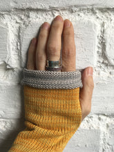 Load image into Gallery viewer, Mustard Yellow Cotton Fingerless Gloves with Grey Trim