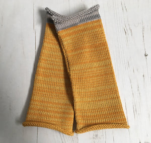 Mustard Yellow Cotton Fingerless Gloves with Grey Trim