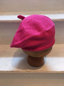 Pink Cotton Knitted Beret for Women