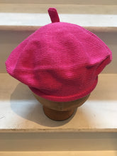 Load image into Gallery viewer, Fuchsia Cotton Knitted Beret with Tab at Top