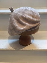 Load image into Gallery viewer, Lord and Taft stone beige cotton knitted beret for women, with tab at the top.
