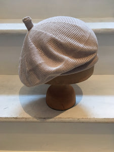 Lord and Taft stone beige cotton knitted beret for women, with tab at the top.