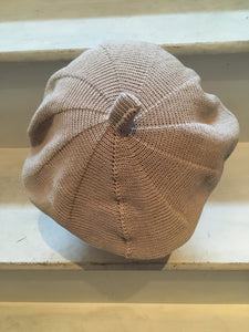 back view of Lord and Taft beige cotton knitted beret