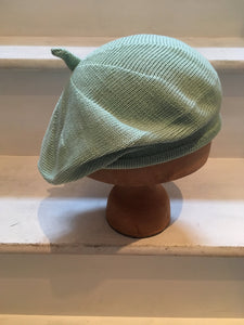 Lord and Taft Mint Green Cotton Knitted French Style Beret