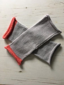 Light Grey Fingerless Alpaca and Silk Gloves with Pink Trim