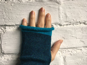 Teal Blue Fingerless Alpaca Gloves with Turquoise Trim