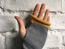 Load image into Gallery viewer, Grey Alpaca and Silk Fingerless Gloves with Mustard Trim