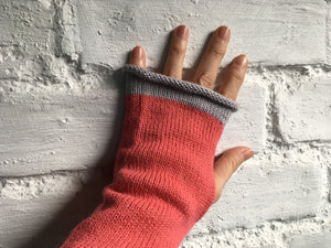 Pink Alpaca Fingerless Gloves with Grey Trim
