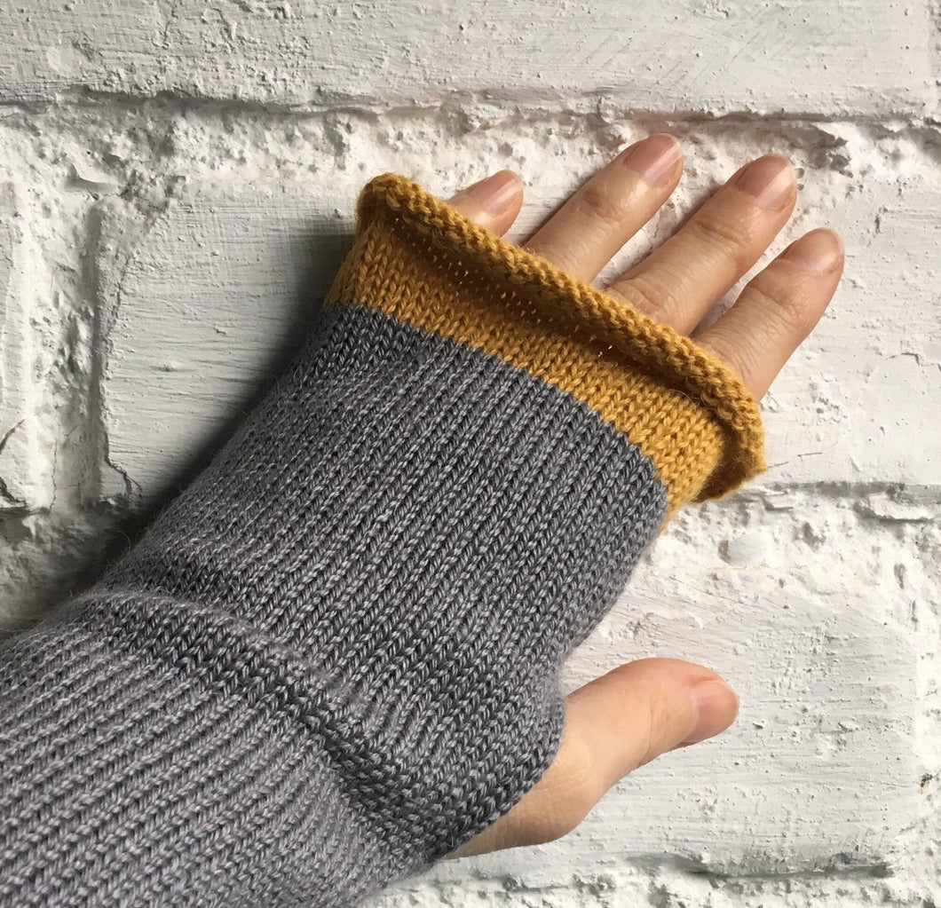 Grey Knit Alpaca and Silk Mix Fingerless Gloves with Mustard Trim, by Lord and Taft