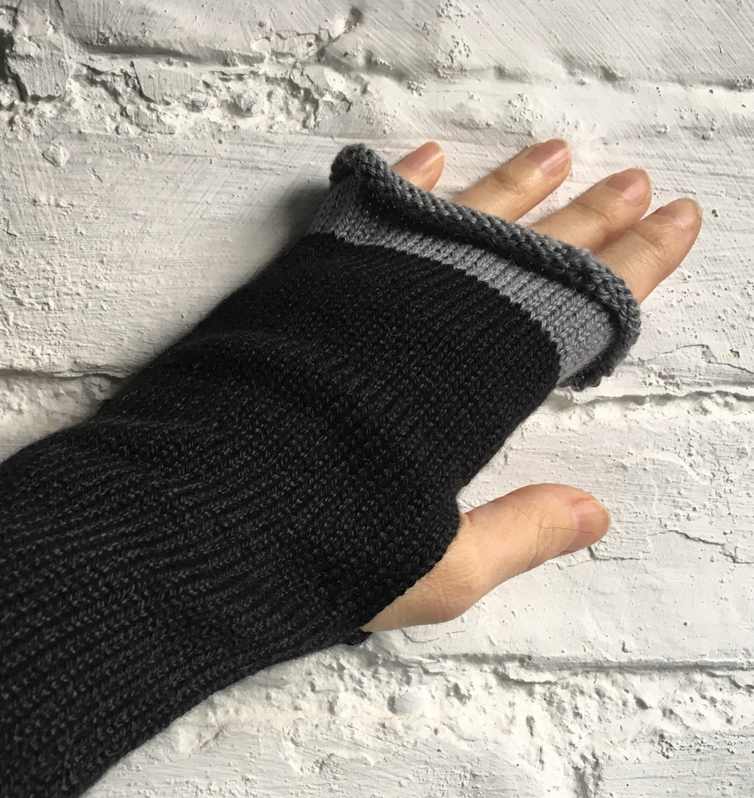 Black Alpaca and Silk Fingerless Gloves with Grey Edge
