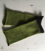 Load image into Gallery viewer, Grass Green Alpaca Fingerless Gloves with Charcoal Trim