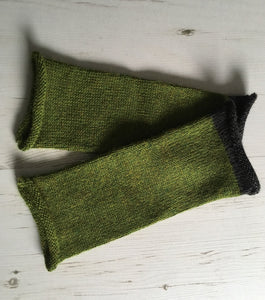 Grass Green Alpaca Fingerless Gloves with Charcoal Trim