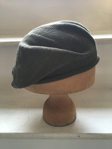 Khaki Olive Green Cotton Knitted Tam Style Beret by Lord and Taft
