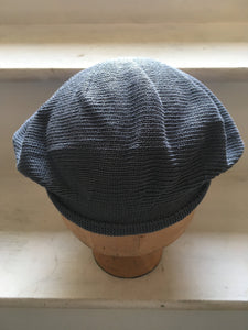 Unisex Blue Grey Cotton Knitted Tam with Rolled Hem