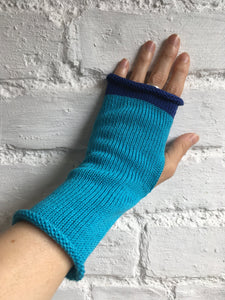 Turquoise Blue Cotton Fingerless Gloves with Royal Blue Trim
