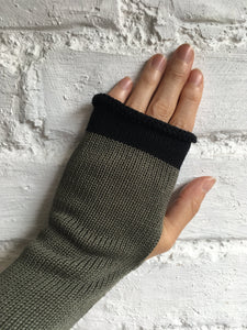 Lord and Taft Khaki Olive Green Cotton Knitted Fingerless Gloves with Black Trim at Fingertips