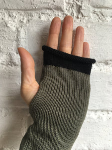 Khaki Olive Cotton Fingerless Gloves with Black Trim