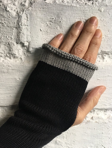 Black Cotton Fingerless Knitted Gloves with Grey Trim at Fingers