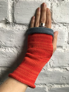 Red Cotton Fingerless Gloves with Grey Trim