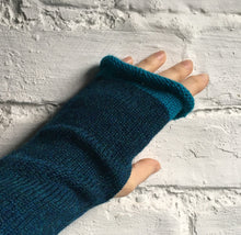 Load image into Gallery viewer, Lord and Taft Teal Blue fingerless alpaca gloves with turquoise edge