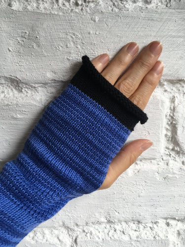 Blue Marled Cotton Knitted Fingerless Gloves with Black Edge by Lord and Taft