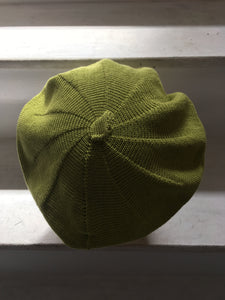 Lime Green Knitted Cotton French-Style Beret