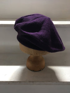 Purple Alpaca Knitted Tam Style Beret